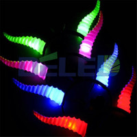 Wholesale Hair Accessories Light Up - Wholesale- Hot Sale 1pcs Colorful LED Horns Glow Flashing Antelope Horn Christmas Hair Accessories Light Up Toys Party Supplies