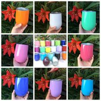 Wholesale Glass Wine Glasses Wholesale - Egg Cup 9oz Stemless Wine Mugs 19 Colors Powder Coated Stainless Steel Wine Glass Beer Cup With Lid 30pcs OOA2102