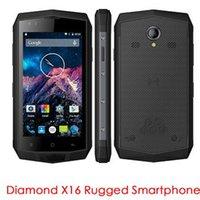 Wholesale Diamond Wireless Usb - Big Battery SOS OTG NFC PTT 4.5 inch Diamond X16 IP68 Waterproof Wireless Charging 2GB RAM 16GB ROM 4G Lte Rugged Smartphone