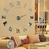 Wholesale Wholesale Wall Clocks - Acrylic Sticker Wall Clock Modern DIY Analog 3D Mirror Surface Numbers House Decoration Fashion Clock for Living Room