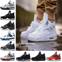 Wholesale Military High Boots - 2018 High Quality 4 Basketball shoes men Fire Red White Cement CAVS Military Blue Cement Grey Black Sneakers Athletics Boots