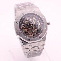 Wholesale Hollow Watch Transparent - 2017top luxury brand Royal Oak series 15407 silver stainless steel strap black hollow dial transparent rear shell automatic mechanical watch