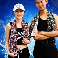 Wholesale children workouts - 31*100cm Camouflage Cool Cooling Towel Camping Hiking Gym Exercise Workout Cold Towel Ice Fabric Material Cool Towel CCA6338 200pcs