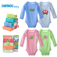 Wholesale Baby Boy Rompers Winter Piece - 5 pieces lot 3-24M DANROL high quality full sleeve rompers baby boy girl soft clothing DR0015