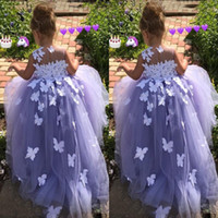 Wholesale Fancy Fuchsia - Purple 7 Year Old Ball Gown Flower Girl Dresses Tulle 3D Floral Appliques Pageant Gowns Butterfly Communion Fancy Dress Costumes