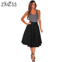 Wholesale High Waist Petticoats - Midi Skirt Calf Black White 2017 Summer Women High Waist Skirt A Line Skater Casual Petticoat Casual Skirts LC65003 17414