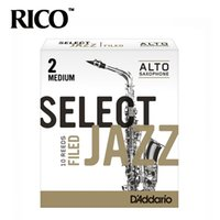 Wholesale Alto Saxophone Sax - Wholesale- RICO Select Jazz Alto Sax Reeds   Saxophone Alto Eb Reeds, Filed, Strength 2M 2H 3S, 10-pack [Free shipping]
