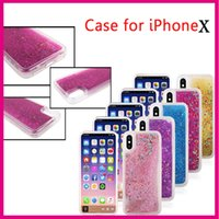 Bling Glitter Liquid Case Soft TPU Case pour Iphone X Silicone Diamond Sparkle Quicksand Star Clear Cell Phone Housse de protection pour la mode