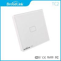 Wholesale Tempered Glass Wall Light - Wholesale-EU UK Standard Broadlink TC2 1 Gang Smart Remote Control Touch Wall Light Switch Tempered Glass Home Automation