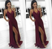 Wholesale Size Pictures Women - 2017 Burgundy Cheap Sexy Prom Dresses Halter Neck High Side Split A Line Floor Length Formal Evening Party Gowns Backless Women Dress