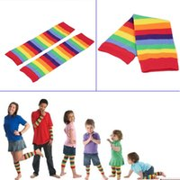 Wholesale Colorful Knee High Socks - Wholesale- Girls Children Rainbow Colorful Striped Thigh High Warm Leg Socks Bright Color Hot
