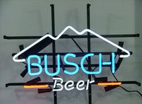 Wholesale Lighted Bar Signs Busch - New HIGH LIFE Neon Beer Sign Bar Sign Real Glass Neon Light Beer Sign New Busch Light Mountain Logo Beer Bar Neon Light 16x15