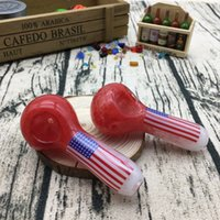 Wholesale Red Flag Design - Creative Design 3.7 Inches Red with a Flag on the Pipes Glass Spoon for Smoking Glass pipes Accessories