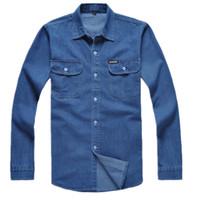 Wholesale Loose Collar Shirts Wholesale - Wholesale- Free shipping cotton long-sleeve denim shirt male plus size loose shirt Blue work wear men jeans shirt men Chemise Homme