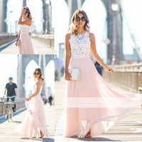 Wholesale Dress Whit Lace - Elegant Whit and Pink Prom Dresses A Line Lace Top Jewel Neck Zipper Evening Dress Cheap Chiffon Party Gowns