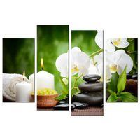 Wholesale Zen Wall - White Butterfly Orchid Canvas Print Zen Stone Giclee Print Artistic Beauty Canvas Wall Art