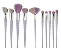 cepillos de nylon blanco al por mayor-2017 Hot 10 Unids Mango Blanco Pinceles de Maquillaje Set Pro Oval Eyebrow Foundation Powder Eyeshadow Colorful Make Up Brush Kit