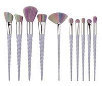 Wholesale Make Up White Powder - 2017 Hot 10Pcs White Handle Makeup Brushes Set Pro Oval Eyebrow Foundation Powder Eyeshadow Colorful Make Up Brush Kit