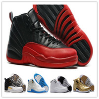 Wholesale Band Cherry - Retro 12 French Gamma Blue Basketball shoes taxi ovo black Nylon Wings flu game 12s US 8-13 Rising Sun Cherry Sneakers men