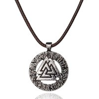 Wholesale Magic Triangles - Alloy Nordic mythology myth fairy tale Scripture Spells magic Incantation Rune Necklace triangle mountain Pendant peak Necklace boy x375