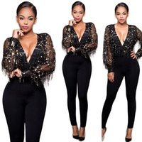 Wholesale Sequin Jumpsuits For Women - Autumn Women Fashion Sexy Tassel sequins Mesh Panlled Black Jumpsuits Rompers For V-neck Bodycon Pants Plus Size