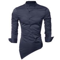 Wholesale Mk Shirts - Wholesale- MK Fashion Men Shirts 2017 New Mandarin Collar Long Sleeve Irregular Hem Tops Dress Shirt Casual Silk Like Solid Male Shirts