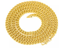 Wholesale Real Gold Plated 24k Chain - promotion ++ 5mm 30inch 3mm 24inch Real 24K Yellow Gold Rhodium Plated Solid Cuban Curb Chain Mens Necklace Hip Hop Jewelry Star Style