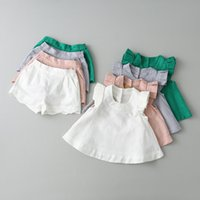 Wholesale Denim Girls Sets - Everweekend Girls Ruffles Fly Sleeve Outfits Tops and Shorts 2pcs Sets Candy Color Sweet Children Clothing