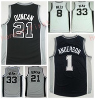 Wholesale Print Basketball Jersey - 2017 Men 40 Boban Marjanovic Jersey Printed 33 Boris Diaw 1 Kyle Anderson 8 Patty Patrick Mills Shirt Uniform Team Color Black White Gray