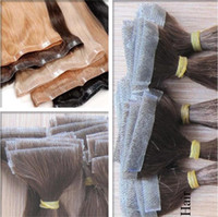 Wholesale Brown Skin Light Hair - Skin Weft Tape Hair Extensions Straight Body Wave Invisible Human Hair Extensions Black Brown 12-26 inch 100g accept customized