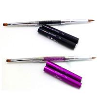 Wholesale Acrylic Liquid Double - Wholesale- New Acrylic Handle Nail Art Brush Double Heads Dotting Painting Pen Carving Powder Gel Liquid Liner Nail Brush Tools M01978