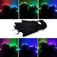 Wholesale Led Lighted Gloves - Flash color change LED glove Rave light led finger light glove light glove party favorite concert 200 pair YYA566