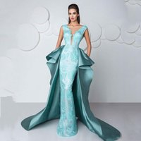 Wholesale Custom Celebrity Body Dresses - Elegant 2017 Overskirt Train Formal Celebrity Evening Dresses With V Neck Lace Body Floor Long Fashio Mint Prom Occasion Gowns Custom Made