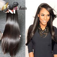 hair extensions european al por mayor-Trama del pelo humano europeo sin procesar 3 unids / lote sedoso paquetes de cabello recto Color Natural Extensiones de cabello Envío Gratis