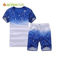 coole sportanzüge großhandel-Actionclub Herren Sportanzug Set Cool Sommer Kurzarm Sudaderas Hombre Laufen Sportbekleidung Plus Größe 5XL SR258