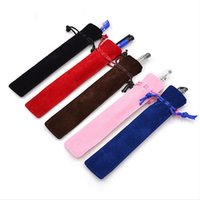 Wholesale Pen Rollerball Pcs - Wholesale- 5 Pcs Velvet Pen Holder Single Pencil Case With Rope For Rollerball Fountain Ballpoint Pens School Office Stationery Supplies