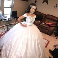 ingrosso fanno il vestito da partito delle ragazze-Bianco Princess Girls Quinceanera Abiti Due Pezzi Cristallo Sweetheart Off Shoulder 2019 Custom Made Dolce 16 Debutantes Birthday Party Gown