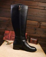 Wholesale High Knee Women - Famous Brand Winter Snow Boots Zip Black Genuine Leather Gold Metal Buckle High Heel Knee High Boots Women Shoes Martin Boot Sz 35-41