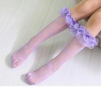 Wholesale Children Stocking Tube - Girls Lace Socks Children Lace Net Yarn Stockings Cute Girl Bowknot Middle Tube Socks Kids Knee-High Stocking