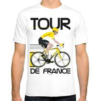 Wholesale Tour France Tops - Tour De France New Fashion Man T-Shirt Cotton O Neck Mens Short Sleeve Mens tshirt Male Tops Tees Wholesale