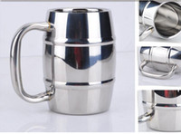 Wholesale Double Wall Color - 550ml 350ml Stainless Steel Barrel Juice Beer Mug Double Wall Durable Coffee Mug Tea Cup Drinkware