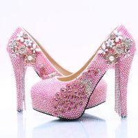 Wholesale Pearl Loop - Wholesale Pink Tassel Flower Cinderella Shoes Prom Evening High Heels Beading Rhinestones Bridal Bridesmaid Hand-made Wedding Shoes