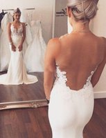 Wholesale Sleevless Wedding Dresses - Sheer Back Mermaid Wedding Dresses Lace Appliques Sleevless Vinatge Country Modest Beach Wedding Bridal Gowns With Court Train