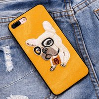Wholesale Embroidery Cases Iphone - 3D Animals Embroidery Dog Cat Phone Case For iPhone 7 Ultra Thin Back Cover Fundas for iPhone 6 6s 7 Plus Cases Covres