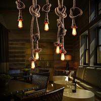 Wholesale Transparent Light Rope - Vitage Loft Rope Pendant Light Edison Lamp American Style E27 Bulb 110V 220V 2.5M Industrial Led Lighting Loft Coffee Bar Restaurant Light