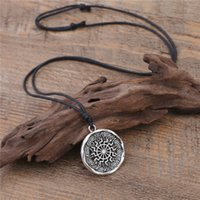 Wholesale Protection Crystal Necklace - New Punk Norse Viking Tibetan Silver Plated Knot Pentacle Protection Wicca Necklace For Men Jewelry Free Shipping