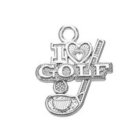 Best Selling Metal Metal Zinc Alloy I Love Golf Letter Charms Jóias Desportivas