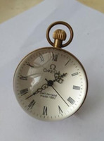 relógio de bolso de vidro da bola venda por atacado-Relógio de BOLA do relógio de bolso do VIDRO de BRONZE do vintage do polegada de 2.5 polegadas / Works CHINESE
