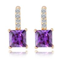 Wholesale Purple Earrings For Wedding - White Red Purple Fashion Women Earrings For Wedding 18K Yellow Gold Plated Big Square Austrian Crystal Stud Earrings Luxury Jewlery
