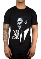Wholesale Graphic Sleeveless Shirts Men - Barack Obama Yes We Can Slogan Graphic T-Shirt US Election Great Gift Idea Men Summer Short Sleeves T Shirt